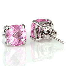 6.5ct, 8mm Pink Sapphire Crystal Cushion Cut Stud Earrings 925 Sterling Silver - $29.00