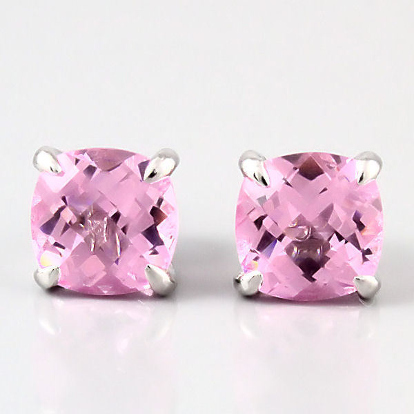 6.5ct, 8mm Pink Sapphire Crystal Cushion Cut Stud Earrings 925 Sterling Silver