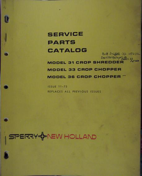 New Holland 31 Crop Shredder, 33, 36 Crop Choppers Parts Manual