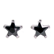 6mm 1.3c Star Cut Black Ice CZ Stud Earrings 925 Silver - $17.00