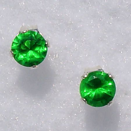6mm 1.5ct created Emerald Stud Post Earrings 925 Silver