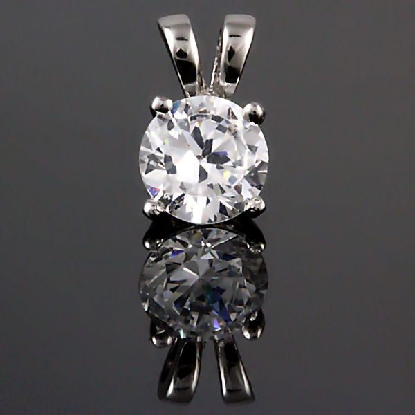 6mm Brilliant Ice on Fire Russian CZ Solitaire Pendant 925 Silver 0.75 carats