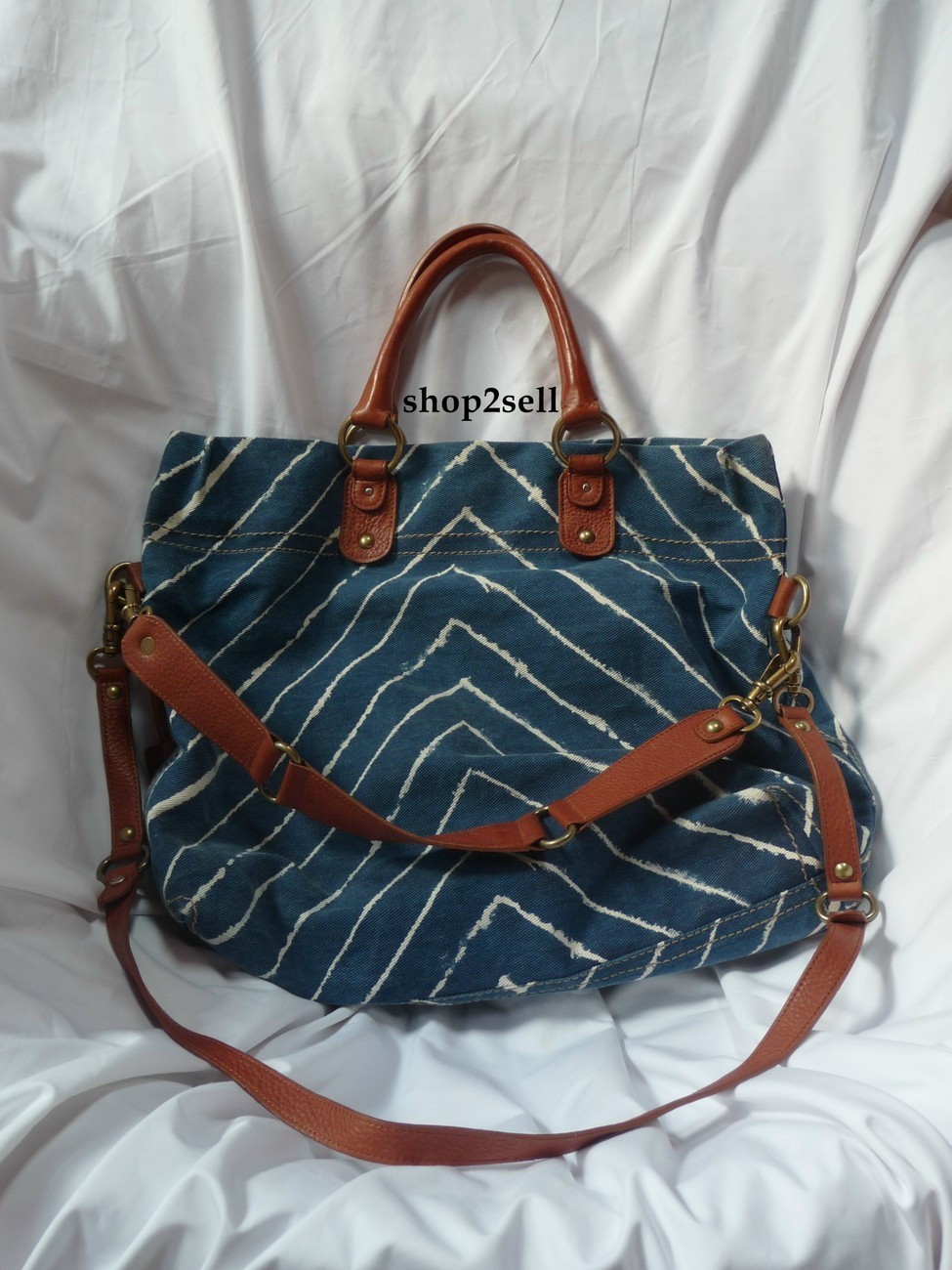 Hayden Harnett Langley Tote Chevron Cognac Leather Handbag