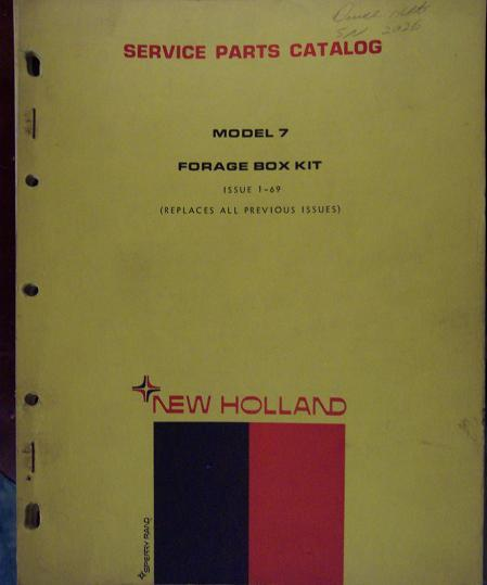 New Holland Model 7 Forage Box Kit Parts Manual - 1969