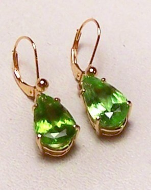 Peridot 14K Gold Earrings 9.6 cttw Pear Shape Dangles MADE IN USA