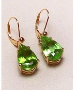 Peridot 14K Gold Earrings 9.6 cttw Pear Shape D... - $695.00