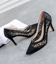 5cm Low Heels Leather See Through Lace Shoes, Black Leather Evening Heel... - $69.99