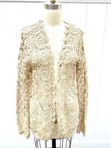 Chico's Women Sz 2 M/L Glam Crotchet Cardigan Sweater Cream Gold Cotton ... - $59.00
