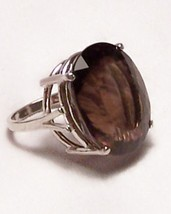 Smoky Quartz Sterling Silver Ring 17.2 ct 18x15 MADE IN USA - $145.00