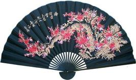 Black Sakura with Black Bamboo Asian Wall Fans - $44.95