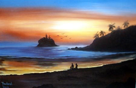 Sunset Beach Oriental Paintings
