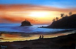 Sunset Beach Oriental Paintings - $28.95