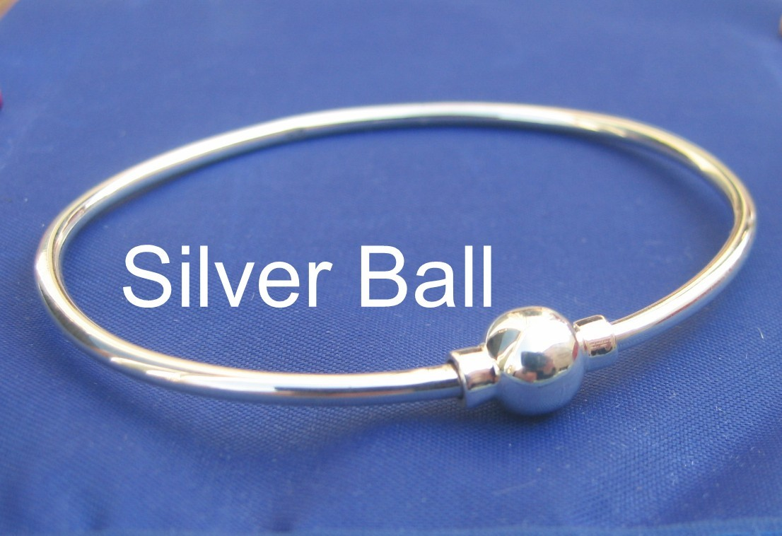 CAPE COD Single Ball 7 Inch Bangle Bracelet 925 Silver SJ34
