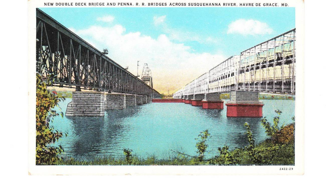 Vintage Postcard Double Deck and Penn Railroad Bridges MD