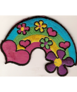 Rainbow Flowers Hearts Applique Iron-on Patch - $3.50