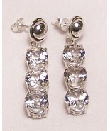White Topaz 3-Stone Sterling Silver Dangle Earrings MADE IN USA - $189.00