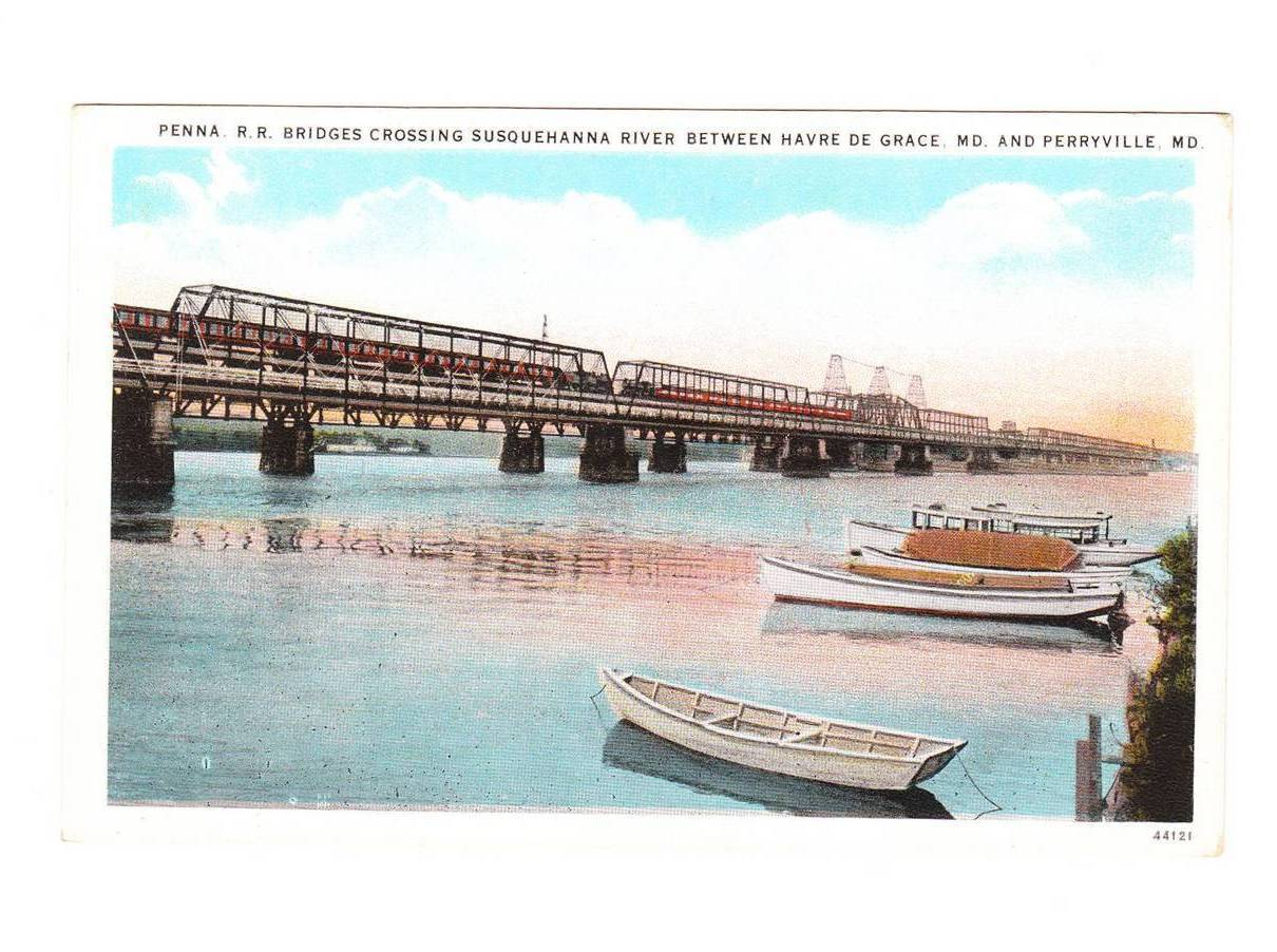 Vintage Postcard Pennsylvania Railroad Bridge Maryland MD