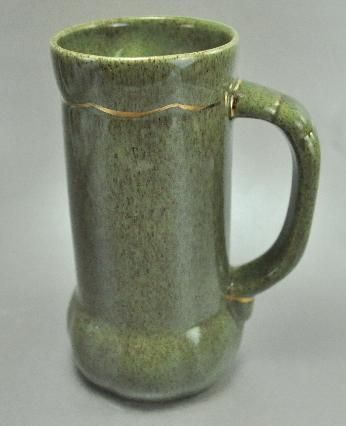Hope Warren California Pottery Tall Green Glaze Coffee Mug Gold Trim