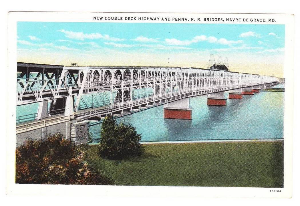 Vintage Postcard Double Deck Highway Penn Railroad Bridge MD