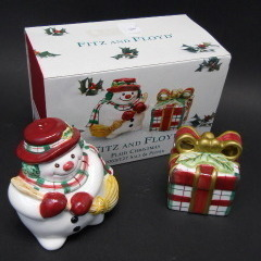 Primary image for Fitz & Floyd Christmas Dercoration Snowman Presents #2063/124 Salt & Pepper