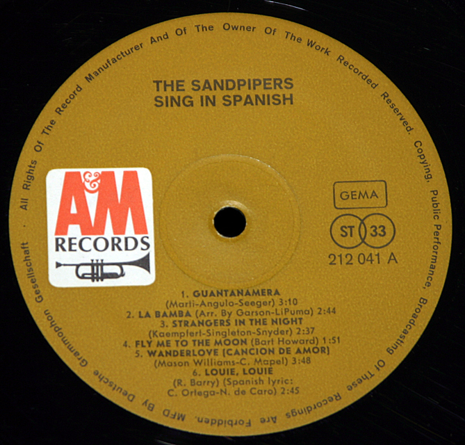 The Sandpipers Sing In Spanish    LP