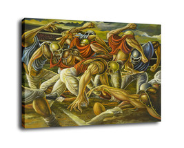 "Cartoon Art Home Decor Oil Painting Print On Canvas ""Football Game""Framed - $13.06+"
