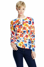Lands End Women's Supima Print Cardigan Sweater Orchard Floral New - $19.99