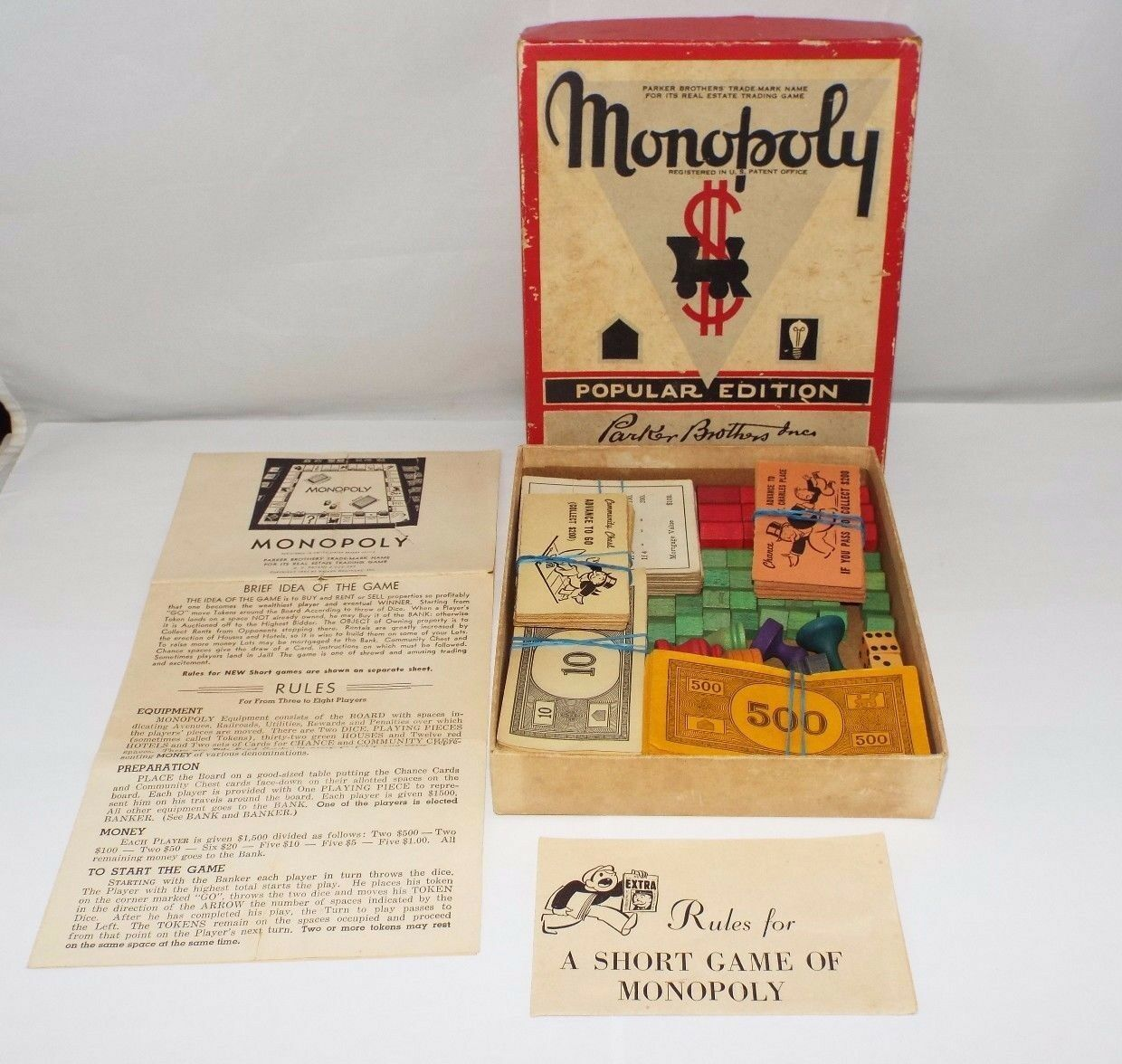 Monopoly 1951 Popular Edition w Wood Hotels Houses Mover Pieces No Board Vintage