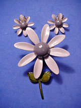 Vintage Flower Pin Brooch Matching Clip On Earrings Two Tone Gray Enamel... - $27.23