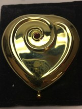 Vintage Estee Lauder Gold Heart Shaped Powder Compact Red Stones Unused Regency - $31.67