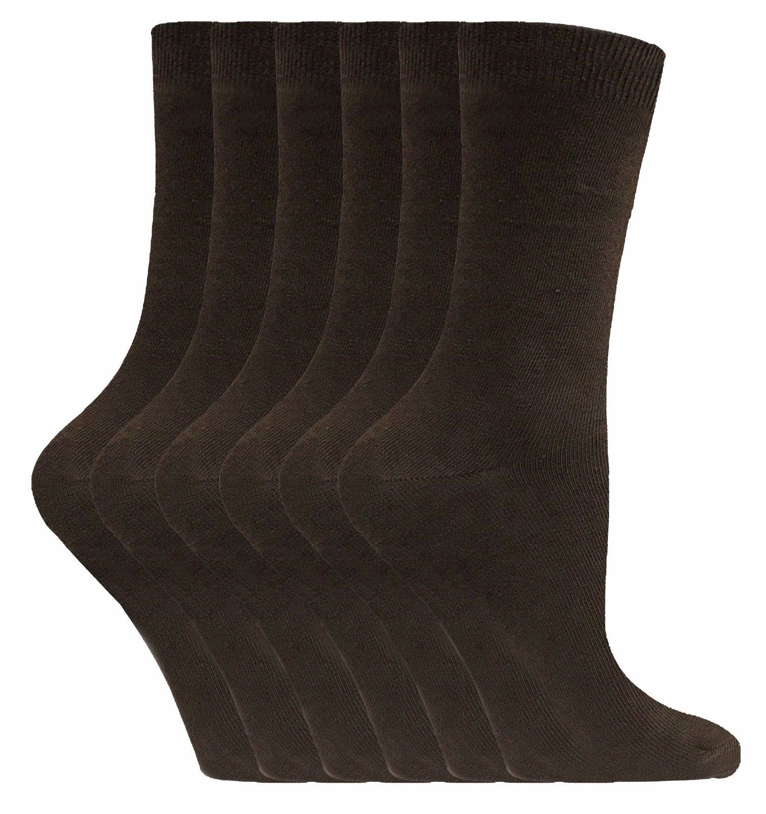 Sock Snob - 6 Pairs Thin Casual Plain Coloured Cotton Rich Dress Socks - PL30