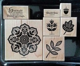 Stampin Up Day of Gratitude Set of 7 Wood Mounted Stamps Thanksgiving Au... - $29.69