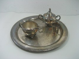 Oneida 5 Piece Set Vintage WM A Rogers Silver Plated Sugar Bowl Cream Pot & Tray - $22.40