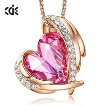 CDE Women Gold Necklace Pendant Embellished with Crystals from Swarovski... - $37.99+