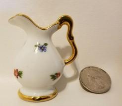 Vintage Limoges France Dollhouse Miniature Floral Porcelain Ceramic Vase Pitcher - $9.89
