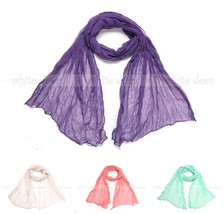 "64"" Solid Color Wrinkle Plain Spring Summer Scarf Wrap See Through Light... - $5.45"