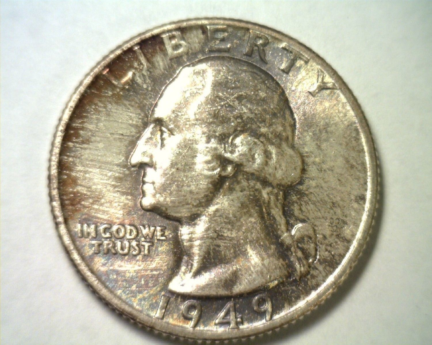 1949 WASHINGTON QUARTER GEM / SUPERB UNCIRCULATED GEM / SUPERB UNC. TONED /COLOR
