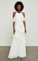 BCBG MAX AZRIA OFF WHITE COLD SHOULDER CHIFFON TIERED MAXI DRESS NWT! $4... - $46.74