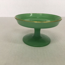 vintage retro decor  jade green glass small  pedestal dish with gold col... - $19.75