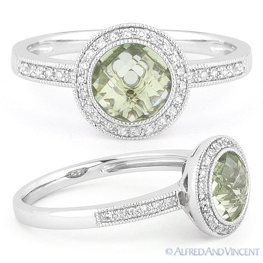 1.45ct Checkerboard Green Amethyst Round Cut Diamond Halo Ring 14k Gold Setting
