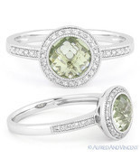 1.45ct Checkerboard Green Amethyst Round Cut Diamond Halo Ring 14k Gold ... - $495.99