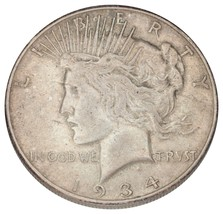 1934-S Silver Peace Dollar $1 (Extra Fine, XF Condition) - $112.86