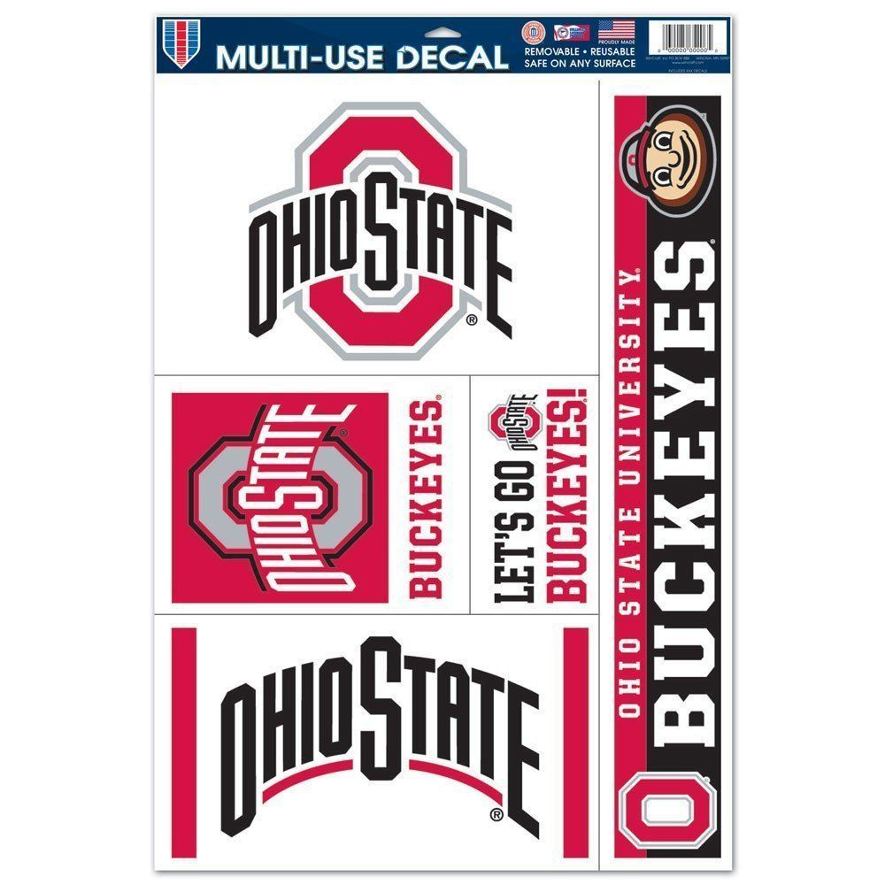 "OHIO STATE BUCKEYES ULTRA FILM DECALS BEAN BAG, CAR, SHEET of 5 SIZE 11"" X 17"""