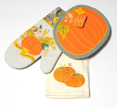 Fall Autumn Thanksgiving Harvest 3 pc. Kitchen Dish Towel Pot Holder Ove... - $12.98