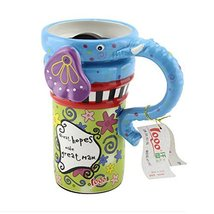 Kylin Express Painted Creative Mug Ceramic Elephant Cup Lid with Spoon, Large Ca - $23.91