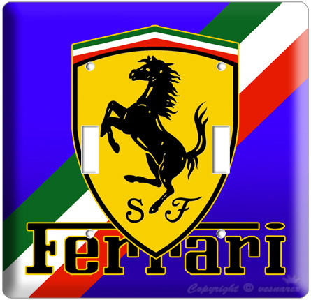 FERRARI SPORT CAR EMBLEM LOGO SCUDERIA SHIELD DOUBLE LIGHTSWITCH PLATE COVER BLU