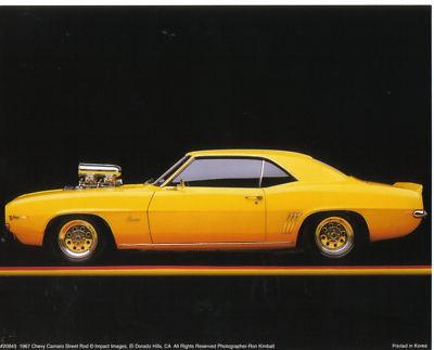 1969 CAMARO - Yellow Street Rod Racer - PRINT 10 X 8