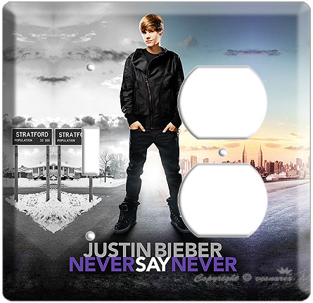 JUSTIN BIEBER FROM NEVER SAY 3D MOVIE POSTER SINGLE LIGHT SWITCH & OUTLET COMBO