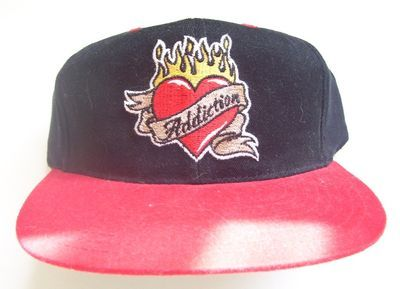 ADDICTION: Flaming Heart Shape- Red & Black Hat-Cap NEW