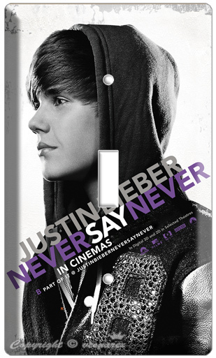 JUSTIN BIEBER NEVER SAY BLACK/W LIGHT SWITCH COVER PLATE FROM 3D MUSIC MOVIE DVD